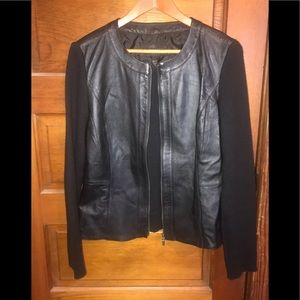 Jaclyn Smith leather sweater/jacket